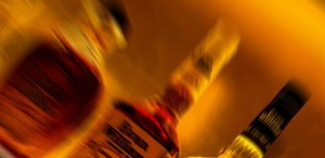 Arty photograph of some alcohol Bottles
