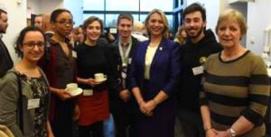 Medical students and Professor Helen Stokes-Lampard with Dr Diana Wood, Clinical Dean.