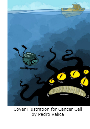 Cartoon of a VEGF scuba diver encountering a cancer cell portrayed as a deep sea monster