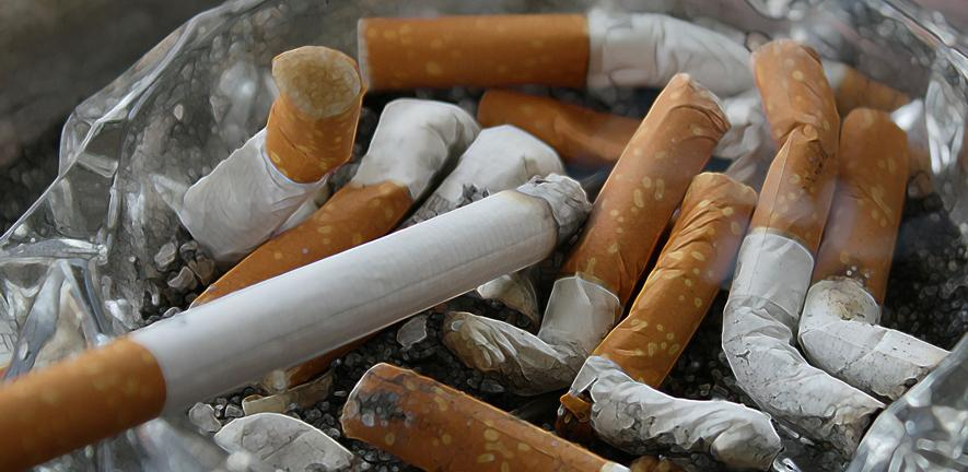 Photo of cigarette stubs in an ashtray
