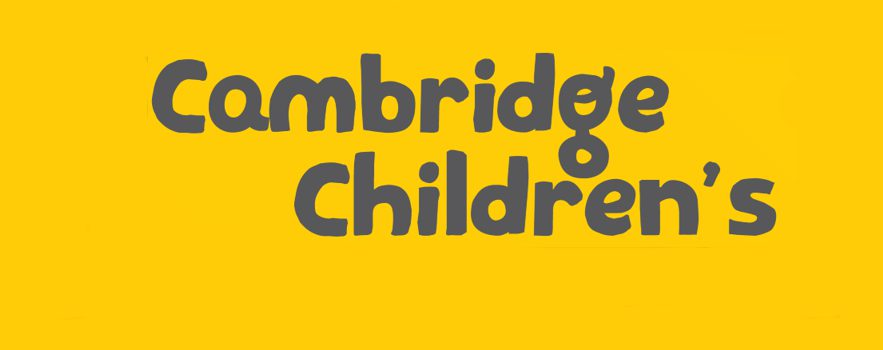 "Logo with the text ""Cambridge Children's"" in black text on a custard-yellow background"